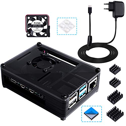 Bruphny Box for Raspberry Pi 4, Box Charger 5V / 3A USB-C con Interruptor ON/Off, Cooling fan and 4 X Heatsink for Raspberry Pi 4 model B