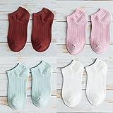 GRHY Corto de algodón lindo Señoras fina calcetines barco primavera y verano corto doble aguja calcetines, un tamaño,Borgoña + polvo de goma + luz verde blanco leche +