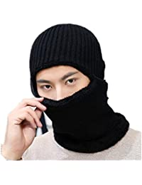 Pasamontañas tejer gorra grueso gorro y bufanda sombrero calefacción con  máscara hombre niño braga de esquí bbe5a4c7a82