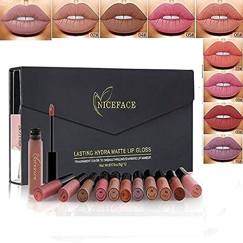 Rechoo 12 Couleurs Longue Durée Rouge à Lèvres Liquide Mat Waterproof Hydratant Brillant Maquillage à Lèvres Lot de 12 Pcs