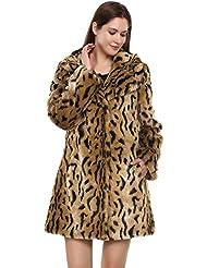 Adelaqueen Abrigo tres cuartos de piel sintética y solapas con estampado vintage de leopardo para mujer