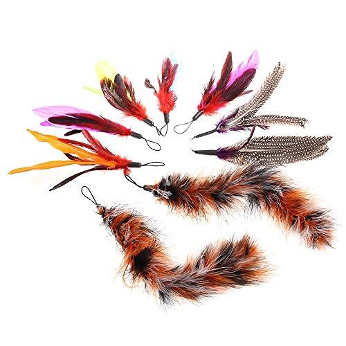 Aeromdale Ersatz-Stab für Katzenfänger, zum Nachfüllen, mit Federn, 9 Stück Geschenk für Haustiere -