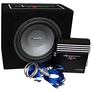 AutoStyle Excalibur X.3 Extreme 12 inch Reflex Bass Box Package including 1000W Amplifer with Cable Kit and Subwoofer Enclosure - Black/ Blue