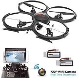 UDI U818A Verbesserte WIFI FPV Drohne mit 2MP HD Kamera APP Steuern RC Quadrocopter Kopflosmodus Drone mit 2 Batterien und 4GB TF Karte