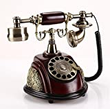 HomJo Antique Telephone Vintage Antique Style cadran rotatif et bois et métal Body Corded Telephone Home Living Room Decor