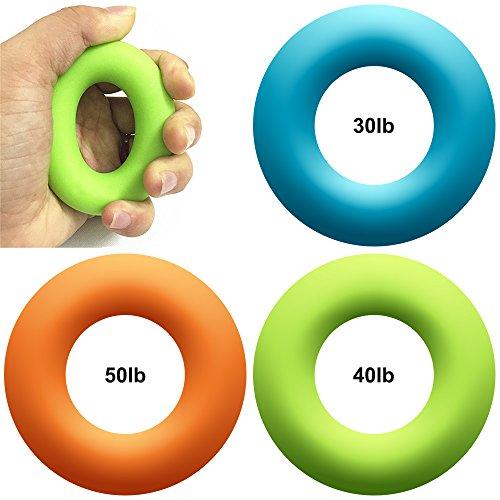 3 Packs Runde Silikon Handgriffe, MAXIN 3 Ebenen (30lbs, 40lbs und 50lbs) Handgreifer Stärkungsmittel Excercisers-Perfekt für die Zunahme Hand, Finger, Handgelenk und Unterarm Stärke.