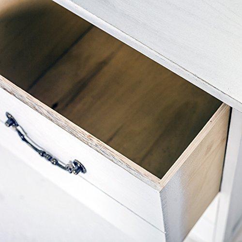 Rebecca Mobili Mobile Bagno 1 Anta 2 cassetti, cassettiera Bianca di Legno, Stile Vintage, per Cucina Ingresso - Misure: 60,5 x 75 x 34 cm (HxLxP) - Art. RE4003 - 5