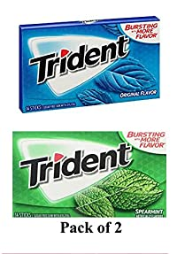 Trident Gum 14 Sticks Chewing Gum Original Flavor + Spearmint Flavor Imported Chewing Gum - Pack of 2 - Shipping Free