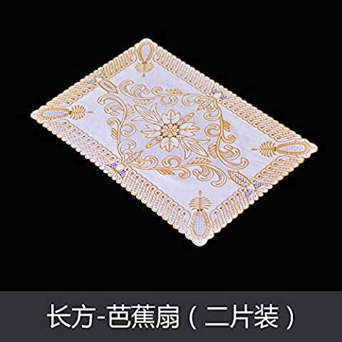 Upper-European style meal cushion, PVC bronzing dinner pad, heat insulation mat, table mat, Western food pad, bowl plate, cup mat, oblong ellipse 2,Banana fan