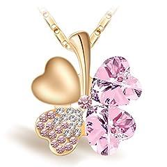 Idea Regalo - Joyfulshine Collana da Donna con Rosa Cristalli Quadrifoglio,18K Oro Placcato Lega Ciondolo Collana per Regalo Ragazza