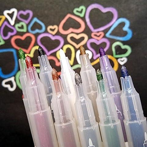 QMINUS Metallic Marker Pens, Permanent Marker, Metallic Marker, Satz von 10 Farben metallischen Stift Marker für Kartenherstellung DIY Fotoalbum Gebrauch auf irgendeiner Oberfläche-Papier Glas Kunststoff Keramik