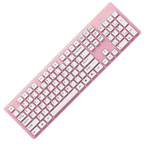 73JohnPol K3 ergonomisches Design drahtlose Tastatur leichte 2,4 GHz super leise Tastatur für Laptop PC Office Supplies (Farbe: pink) -