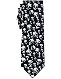 cravate skulls silver on black