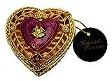 Imperial Treasures emaillierte juwelenbesetzte Herz Schmuckschatulle in violett