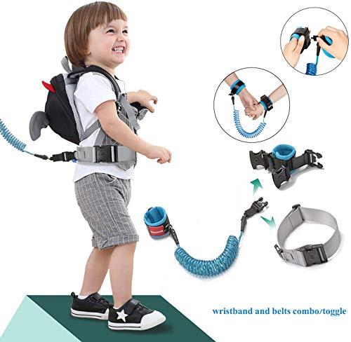 [2018 Nueva versión] cinturones y pulsera 2 en 1 kit de combinación, arnés de seguridad para niños, arnés de bebé para caminar, arnés de seguridad para niños, correa de muñeca anti pérdida para niños (con cierre) azul azul