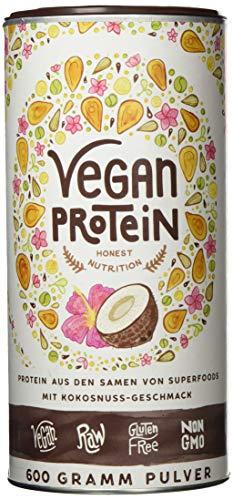 Vegan Protein   KOKOS   Pflanzliches Proteinpulver aus gesprossten Reis, Erbsen, Chia-Samen, Leinsamen, Amaranth, Sonnenblumen- und Kürbiskernen   Mit Verdauungsenzymen   600 Gramm Pulver