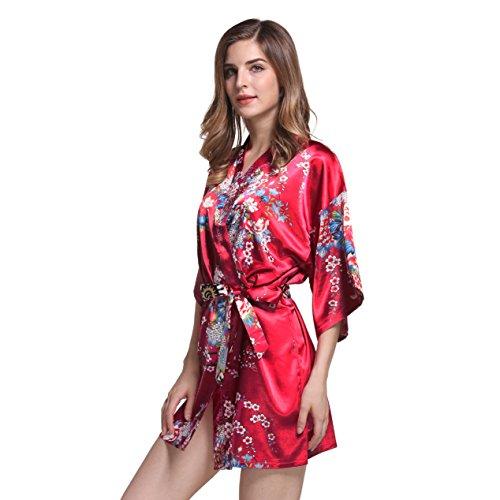 Silkgrace Damen Kimono Bademantel Satin Floral Bademantel Seide Nachtwäsche kurz Stil für Braut und Brautjungfer Hochzeit Party - Rot - XX-Large Silk Floral Kleid