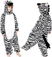 Coralup Mono de franela con capucha para niños y niñas, con diseño de unicornio, dinosaurio, león, cebra, supe