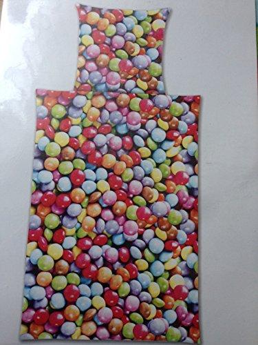 """Bettwäsche """"Schokolinsen M&M Trets Schokolade"""" Bezug 135x200cm Kissen 80x80cm 100% Baumwolle mit Reißverschluss"""