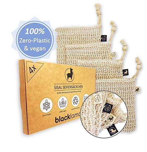 *NEUE DESIGNS* [4x] Sisal Seifensäckchen mit Baumwoll-Labels | 100% vegan | Zero-Plastic Verpackung | Bio Peeling | Seifenbeutel & Seifensack für Seifenreste | reines Naturprodukt -