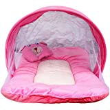 Nagar International Toddler Baby Mattress With Mosquito Net Vt-01 Pink New Born To 4 Months Baby 70*40 Cms