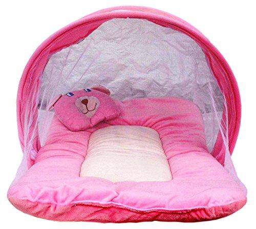 Nagar International Toddler Baby Mattress With Mosquito Net Vt-01 Pink New Born To 4 Months Baby 70*40 Cms