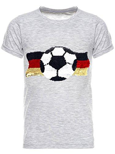 BEZLIT Deutschland Jungen Kinder Wende Pailletten Fussball WM 2018 Fan T Shirt 22513, Farbe:Grau, Größe:164
