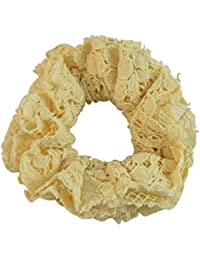 Sarah Off White Lacy Soft Fabric Hair Rubber Band For Ponytail Big Rubber Band Hair Accessories