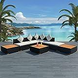 Tuduo Garten-Lounge-Set 18-tlg. Gartengarnitur Poly Rattan WPC Gartenmöbel-Set Schwarz