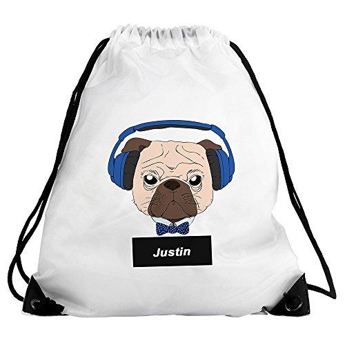 Eurofoto Turnbeutel mit Namen Justin und Mops-Motiv mit Kopfhörer und Fliege für Jungen | Sport-Beutel für Kinder | Gymbag