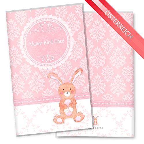 Womens Mutter (Mutter-Kind-Pass Hülle 3-teilig rosa Little Lady Schutzhülle Schwangerschaft Geschenkidee (MuKi-Pass Österreich ohne Personalisierung, Hase))