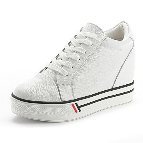 Damen Lässige Klassische Modische Schnürsenkel Flache Tägliche Atmungsaktive Dicke Sohle Aufzug Sneakers Weiß
