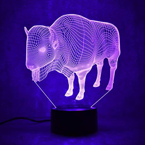 Neuheit Tischlampe 3D Led Visuelle Tier Buffalo Leuchte Usb Kreative Schlaf Rinder Nachtlicht Kinder Geschenke