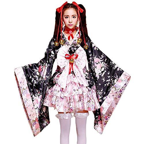 tzm2016 Japanese Cherry blossoms pattern Kimono Anime Cosplay Lolita Halloween Fancy Dress Costume L
