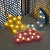 Decorative LED Crescent Moon Cloud and Star Night Lights Lamps Marquee Signs Letters Battery Operated Table Cloud Lamp Light for Kids
