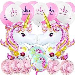 Idea Regalo - MOOKLIN 29 in 1 Unicorno Palloncino Partito Supplies, Decorazioni per Feste, 2pcs Enorme, 2pcs Rotondo stagnola, 20pcs Lattice e 5pcs Palloncini di coriandoli Rosa per Matrimonio Compleanno Natale