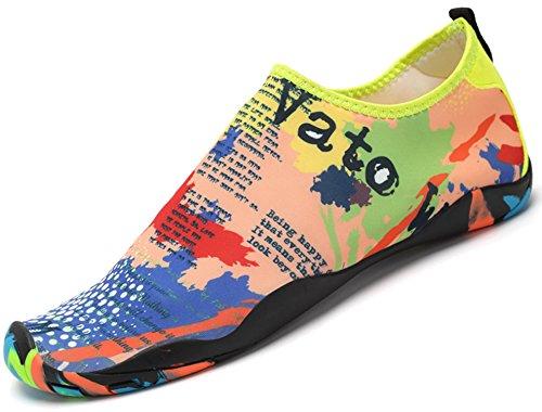 katliu Femme Homme Chaussure de Plage/Chaussons/Chaussures Aquatiques/pour Sport D'eau Piscine Natation Plongée Aquagym/Multicolore 35