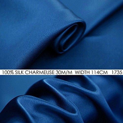 100% Seide Charmeuse Satin 30-Momme 114cm breit, für Anzüge und Kleider Seide mit kostenloser Versand MOQ, 1m, 1735 Jeans Blue, 1 (Charmeuse Jeans)
