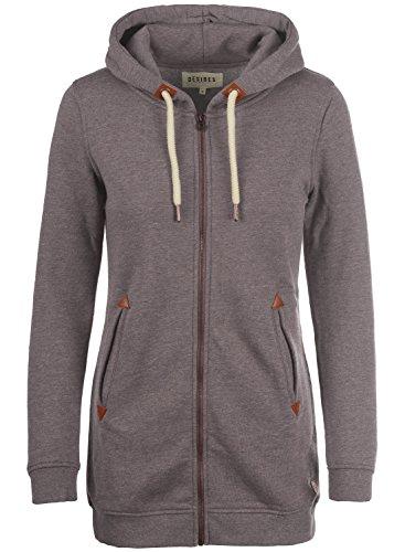 DESIRES Vicky Straight-Zip Damen Lange Sweatjacke Kapuzenjacke Sweatshirtjacke Mit Kapuze Und Fleece-Innenseite, Größe:XL, Farbe:Sparrow Mel (5710)