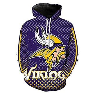 ZXTXGG Männer 3D Hoodies Minnesota Vikings Fußballuniform Muster Digitaldruck Kapuzenpullis Liebhaber Kapuzenpullis(XXXL,Lila)