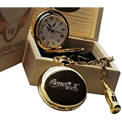 Coca Cola Coke Gold Bottle Keyring and Pocket Watch Luxury Gift Set in Wooden Case
