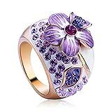 Yoursfs Bague fleur pas cher Or plaqué vintage Solitaire en Zirconium violet t60 pour Mariée comme Accessoire ou Cadeau mariage