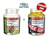 Simply Supplements Plant Sterols 800mg 120 Tablets + FREE GIFT Omega 3 6 & 9 30 Capsules