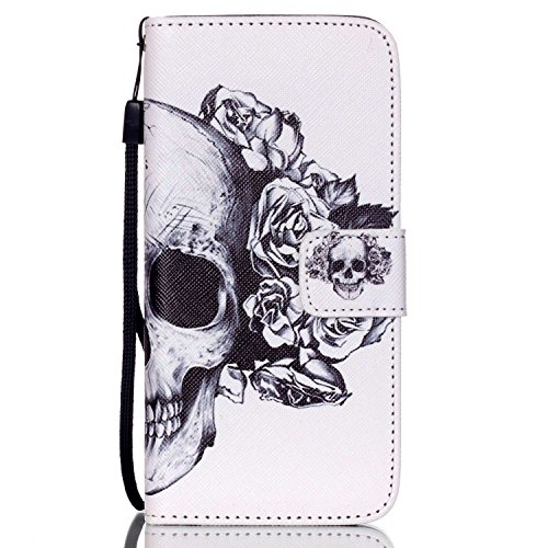 C-Super Mall-UK Apple iPhone 5 / 5S / SE-Fall, PU-Leder-Mappen-Standplatz -Schlag-Fall für Apple iPhone 5 / 5S / SE Skeleton and rose