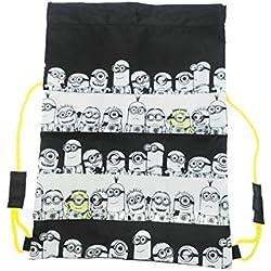 Minions–Mochila con cordones, 42cm, Infantil, negro