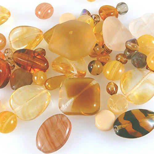 60 Glasperlen Mix Perlen 5-18mm topas braun Glas Beads -1037