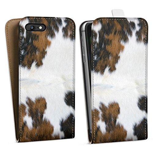 Apple iPhone 7 Plus Tasche Hülle Flip Case Kuh Fell Kuh Look Downflip Tasche weiß