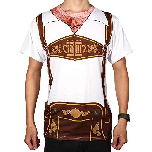 Oktoberfest Herren Behaart Brust Design Deutsche Kostüme Lederhosen T-Shirt Outfits - Behaarte Brust Kostüm