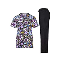 Minty Mint Women's Microfiber Printed Medical Scrub Set V-Neck Top and Pants Purple Floral M