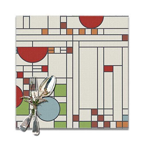 Cocoal-ltd Frank Lloyd Wright Tischsets für Esstisch, waschbar, hitzebeständig, 30,5 x 30,5 cm, 6 Stück - Frank Lloyd Wright Vasen